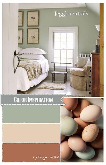 Read Full Story at designwotcha.com/design-basics/color-palette/farm-fresh-g...  Neutral color palette, summer bedroom, egg inspired colors, green