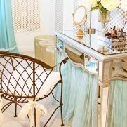 Every girl needs a dressing area with a pretty mirror.  Here's a tip - take a basic table, add a fluffy tulle skirt, and voila - instant glam!