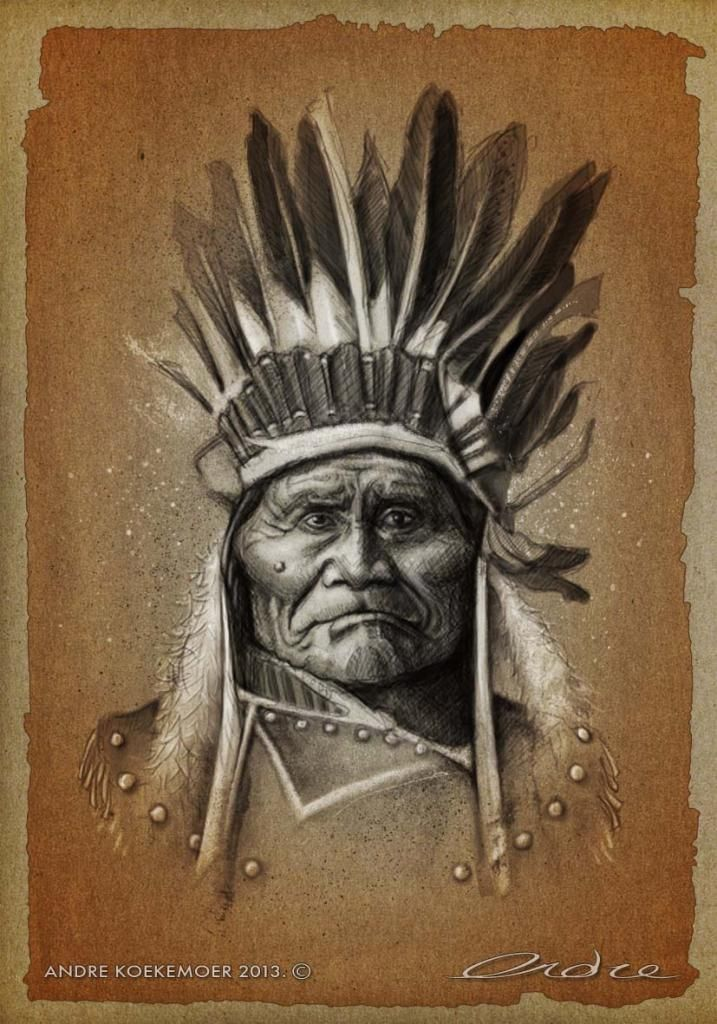 Geronimo by Andre Koekemoer. Caricature sketch created using Photoshop and a Wacom Pen Tablet (from a photo of 1907).