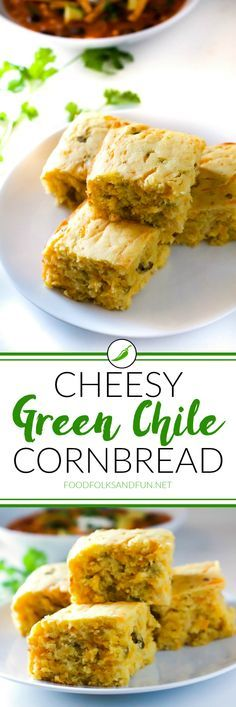 This Cheesy Green Chile Cornbread is the perfect cornbread for early fall and…