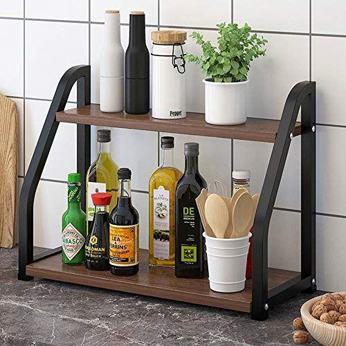 Wild Oak Black Frame Kitchen Rack Multi Layer Multi Functional