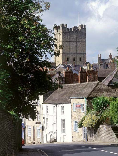 Richmond Castle's 12th century keep is 100 foot tall and towers above the town, Richmond In Yorkshire, England