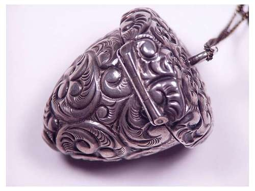 Antique Victorian Sterling Silver Repousse Acorn Pill Box Pendant Necklace | eBay