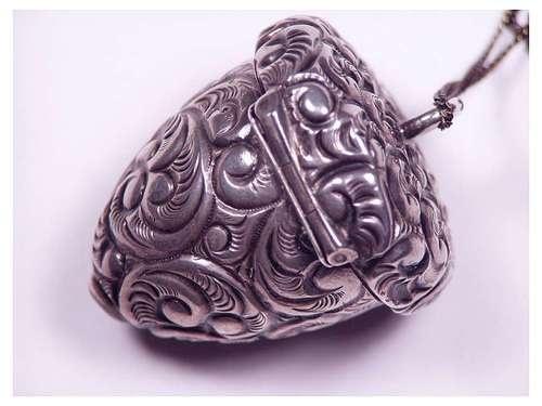 Antique Victorian Sterling Silver Repousse Acorn Pill Box Pendant Necklace | eBay