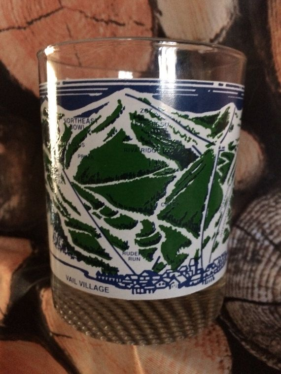 Vintage VAIL ski map glass tumbler cocktail glass rare #Vail