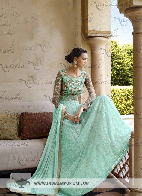 Enviable Sea Green Net Anarkali Suit