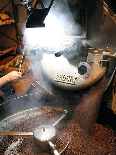 Espresso blend roasting at Four Barrel Coffee. Photo by Tonx, via Flickr.