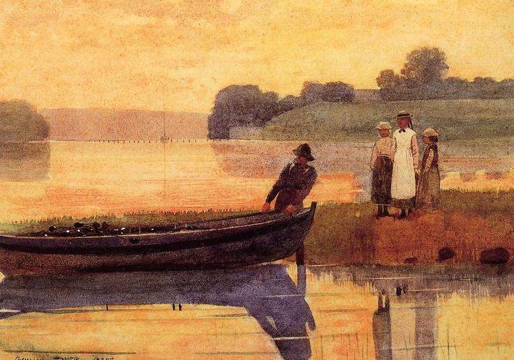 Winslow Homer Sunset beaching the boat