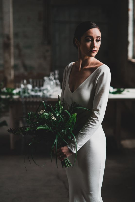 Moody & Modern Warehouse Wedding Inspiration by Jonathan Kuhn Photography