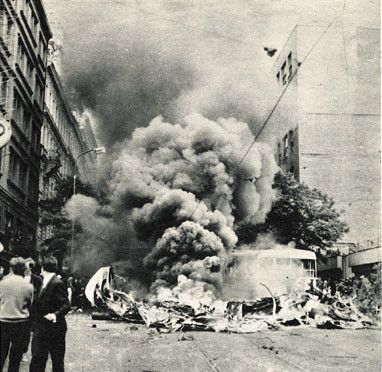 Burning barricade in front of Czechoslovak radio building, 21st August.1968 - Soviet invasion into Czechoslovakia