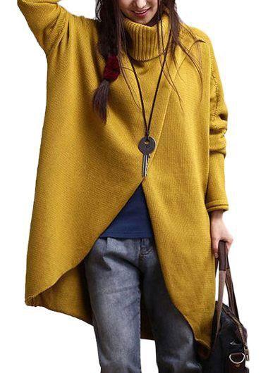 Turtleneck Asymmetric Hem Yellow Long Sleeve Sweater | Rosewe.com - USD $33.41