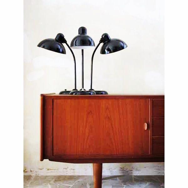 Kaiser Idell desk lamps, Design Christian Dell - Dansh teak modern sideboard - www.capperidicasa.com