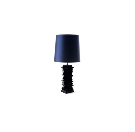 Tribeca is a funny table lamp with turned solid wood base with a round silk shade. This modern design piece also works as a bedside lamp | Discover more table lamps for bedroom ideas: http://masterbedroomideas.eu