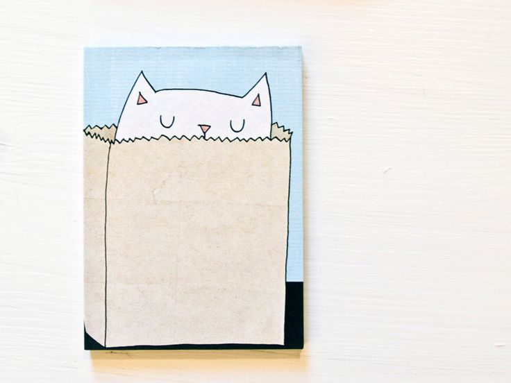 A cat in a bag note pad from littlePrintStore by DaWanda.com