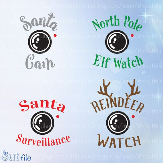 Santa Cam svg, Christmas Svg Bundle, Elf Watch, Reindeer Watch, Santa Surveillance. Ornament Design Files. This Santa Cam Christmas Bundle design is a digital file available as an Instant Download. With this purchase you will receive a Zip file that contains the following files: SVG, DXF,