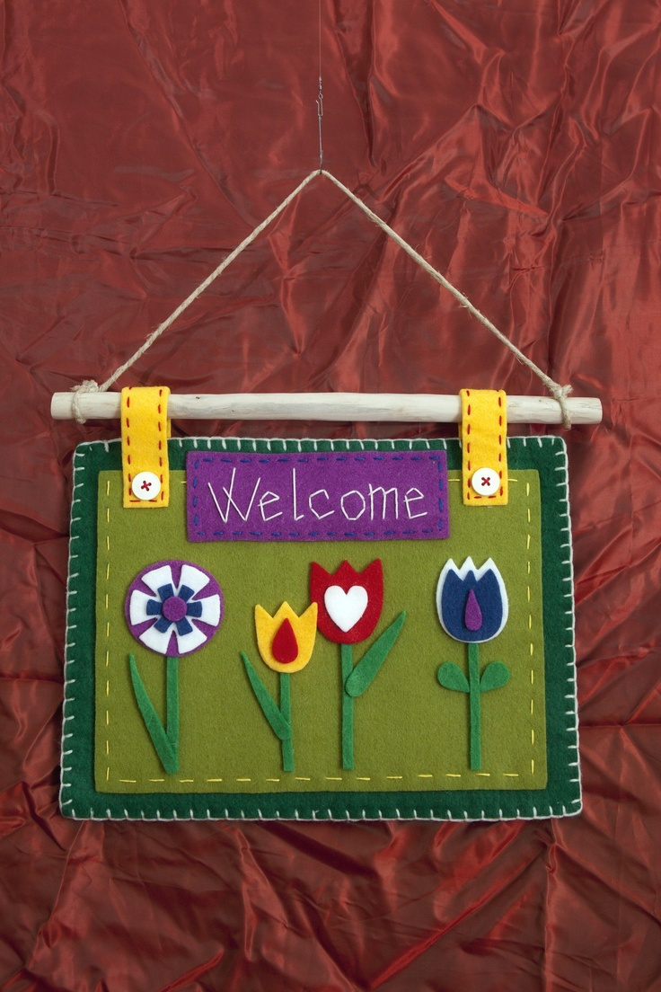 "Targa Welcome ""Prato Fiorito"" *Le Chips di Feltro* - ""Felt Flowery Meadow"""