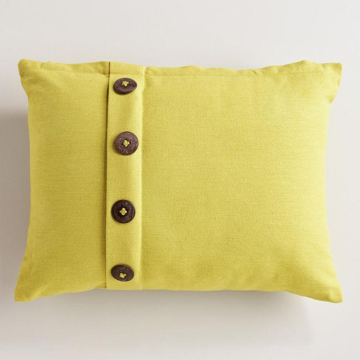 Yellow Ribbed Lumbar Throw Pillow With Buttons