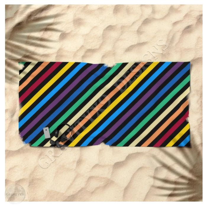 * Rainbow Stripes with Black Beach Towel by #Gravityx9 at ...