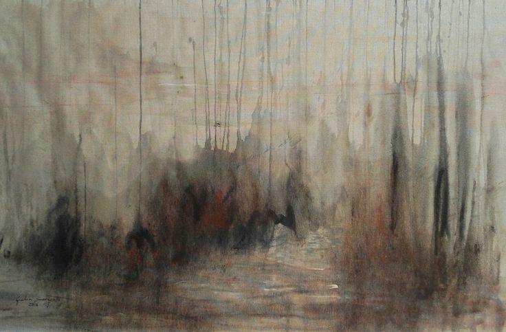 """Imaginary landscape"" Acrylic, oil, chalks on a rough unboard canvas 78 x 138 cm June 2016"
