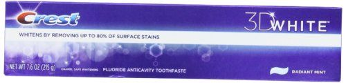Crest 3d White Toothpaste, Radiant Mint, 7.6 Oz (Pack of 4) - Crest 3d White Toothpaste, Radiant Mint, 7.6 Oz (Pack of 4)  List Price: $19.20   Removes up to 80% of surface stains. Micro-cleansing whiteners polish away surface stains. Radiant Mint flavor for fresher breath. Gentle foaming action to clean hard-to-reach places. Fluoride toothpaste to fight cavities. Whiter smile. Fresher breath. Have it all in 2 days.* *Whitens by removing surface stains when using any Crest 3D