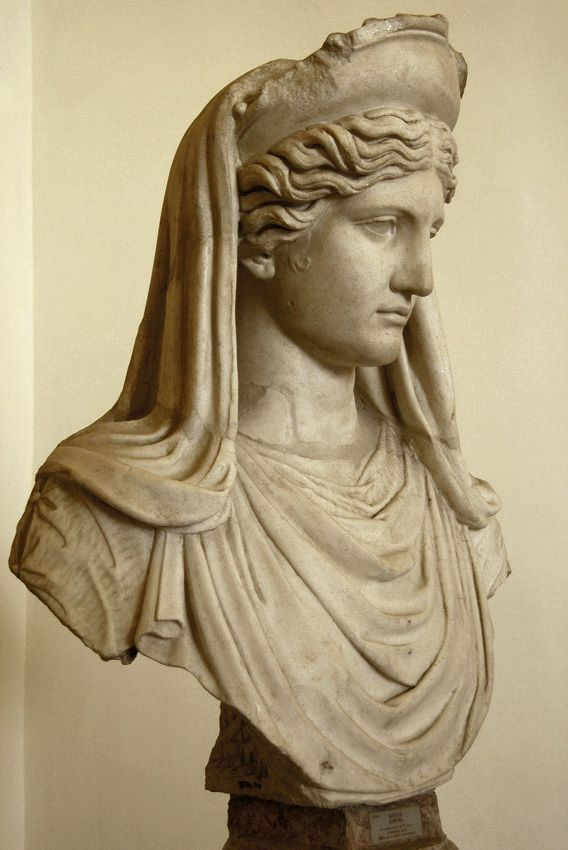 """Ceres (Demeter) (""""Ludovisi"""") or member of the imperial family represented as ~, Roman bust (marble), copy after Greek original, 2nd century AD (original 5th-4th c. BC), (Palazzo Altemps, Rome)."""
