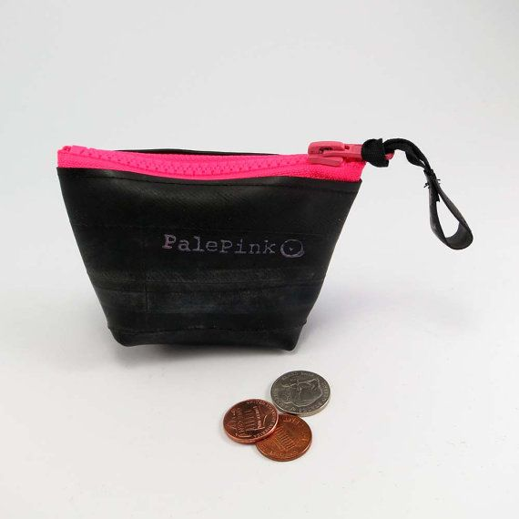 Recycled bicycle inner tube purse with neon pink zipper and bottom, top quality. on Etsy, 125,00kr