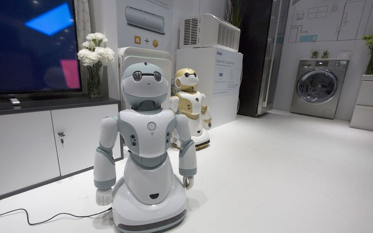 Say hello to the Haier Ubot household robot, a little electronic helper designed to communicate with the company's washing machines and fridges. It is controlled by sound and specialises in household management, alarming you when an intruder is detected in your home and gas leaks, and even tell stories to your children