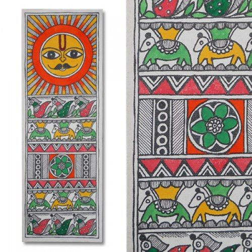 Madhubani painting featuring the sun lord and peacocks