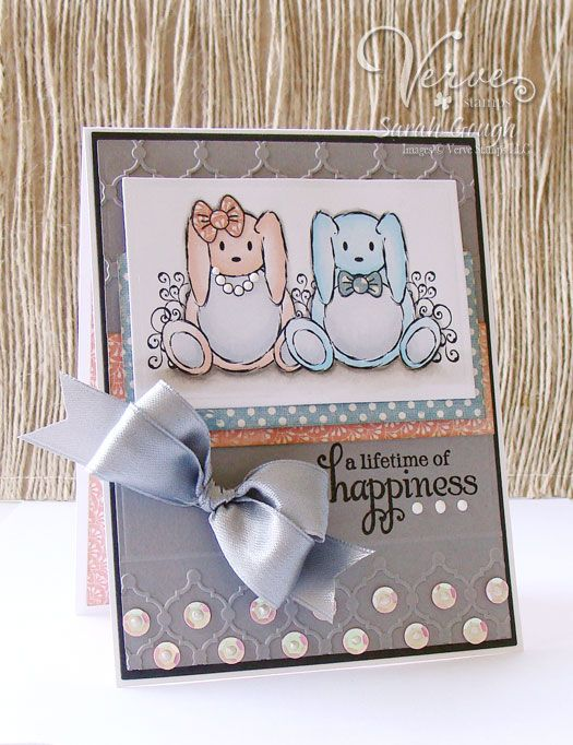 Stamps: Bunny Duet, Wishing You (Verve Stamps) Paper: Honeycake (MME) Ink: Memento Black Dies: Rectangle Nesties (Spellbinders) Other: Whimsy Embossing Folder (Lifestyle Crafts)Cards Ideas, Black Die, Sarah Gough, Lifestyle Crafts, Verve Stamps, Verve Cards, Cards Verve, Cards A Lot, Bunnies Duet