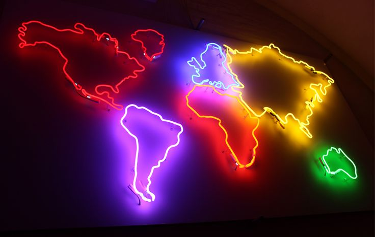 Custom neon.World map in different colors.Continents neon lightning. Design, neon, lighting, homestaging