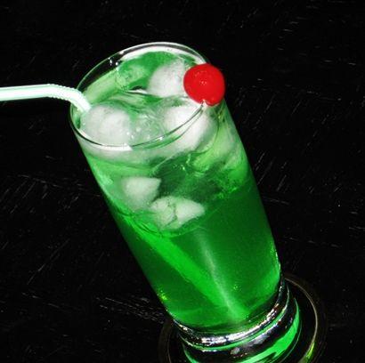 Crocodile Tears (1 oz. Melon Liqueur 1 oz. Limoncello 1 oz. Maui Blue Hawaiian Schnapps 1 oz. Pineapple Rum 3 oz. Sprite 1 oz. Sweet & Sour Mix Cherry for garnish)