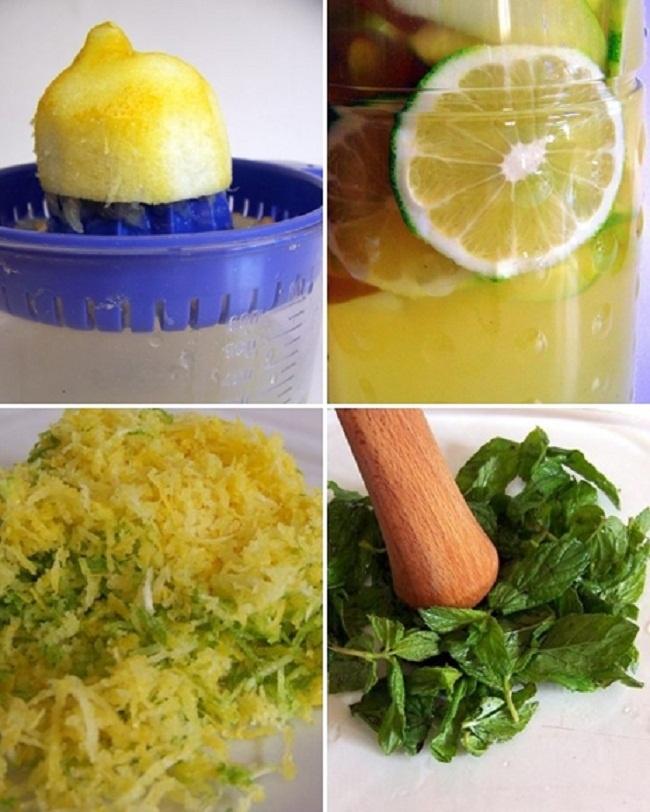 Ev Yapımı Limonata Malzemeler; 2 Büyük limon 1 Tutam taze nane 1 Yeşil elma 1 su bardağı şeker 1 lt. su Hazırlanışı ; Suyun yarısını ve şekeri tencerenin içine koyuyoruz, şeker eriyene kadar kaynatıyoruz. Limonu rendeliyoruz, -naneyi herhangi birşeyle ezin aroması çıkacak kadar olması yeterlidir-. Kaynayan şekerli suyumuzu bir kabın içine alıyoruz. İçine limon kabuğu rendelerini ve hafif ezdiğimiz naneleri ekliyoruz, soğumaya bırakıyoruz.