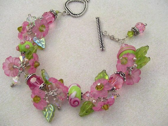 Lampwork Glass Bead and Crystal Bracelet with Flower and Leaf Charms in Pink and Green tones Sterling Silver