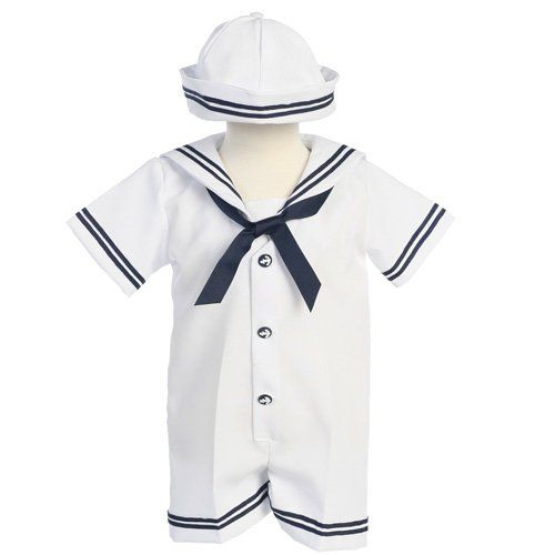 An adorable sailor outfit for your little boy by Lito. Ahoy! This is a cute sailor romper for your little boy. This romper features a button front and snap crotch. The adorable hat that is included completes this nautical look.  Available in sizes: 3-6 months, 12 months, 18 months and 24 months.
