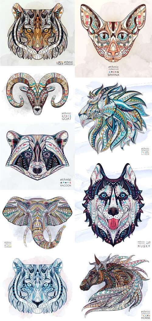 Ethnic Patterned Animal Head. Totem. Tattoo design. T-shirts - 19 Vector