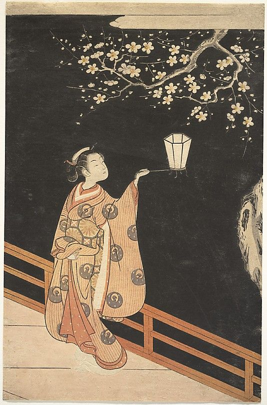 Woman Admiring Plum Blossoms at Night  Suzuki Harunobu  (Japanese, 1725–1770)  Period: Edo period (1615–1868) Culture: Japan Medium: Polychrome woodblock print with embossing (karazuri); ink and color on paper