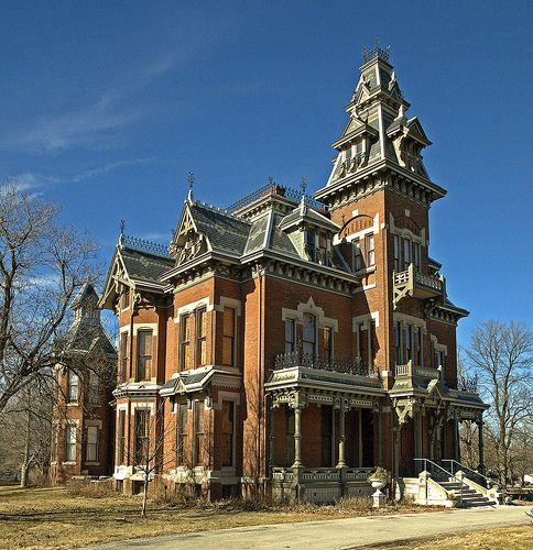Vaille Mansion- Independence, Missouri  The lady of the house committed suicide in the upstairs bathroom by electrocution. She dropped her hair dryer in the bath intentionally.
