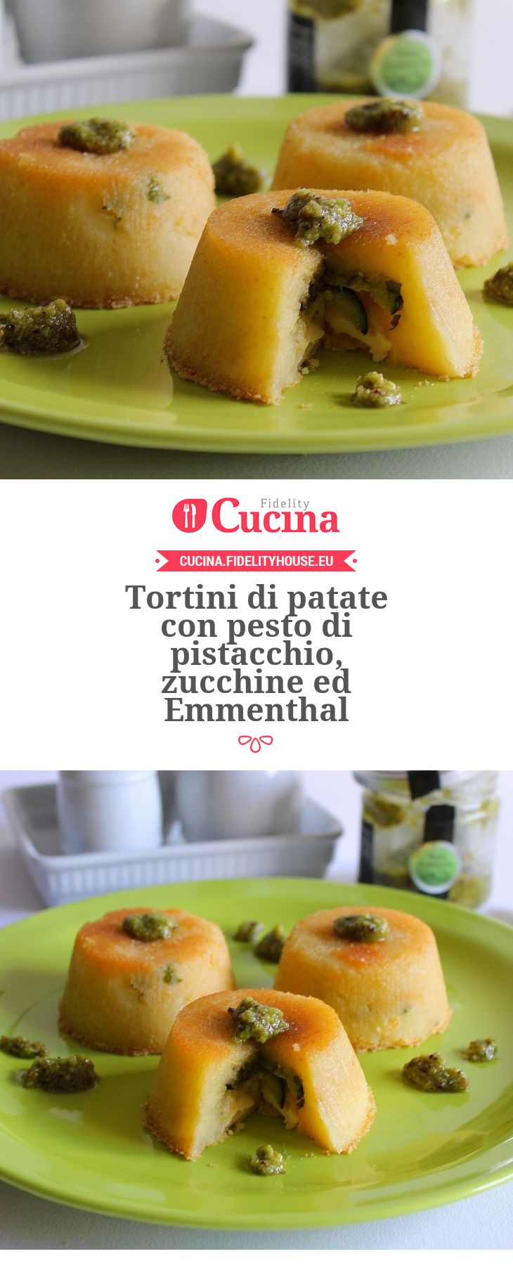 Tortini di #patate con #pesto di #pistacchio, #zucchine ed #Emmenthal della nostra utente Giovanna. Unisciti alla nostra Community ed invia le tue ricette!