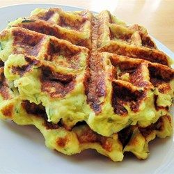 Zucchini Waffles (Green Waffles) - like a crispy potato cake, but uses zucchini instead and is made in the waffle iron, similar to a fritter! Allrecipes.com