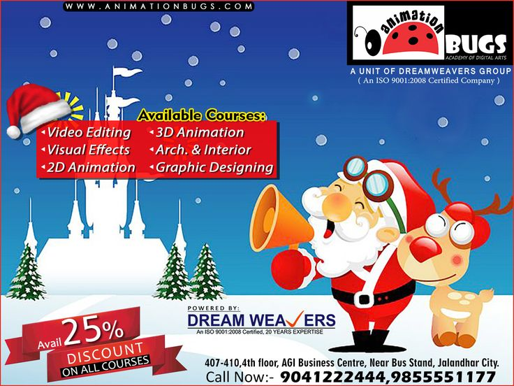 Happy Christmas to all in advance from Animation Bugs 🎶🎉🎁🌟✞  We are offering 25% discount on this great occasion!! Call Us at 9041222444, 9855551177