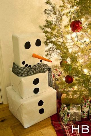 Super cute way to wrap Christmas presents. A snow man for each kid?! how CUTE
