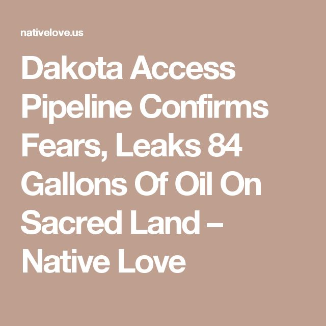 Dakota Access Pipeline Confirms Fears, Leaks 84 Gallons Of Oil On Sacred Land – Native Love