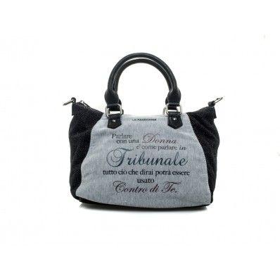 """LE #PANDORINE - Borsa MINI LUREX """"Tribunale..."""" in felpa - Grigio - Elsa-boutique.it <3"""
