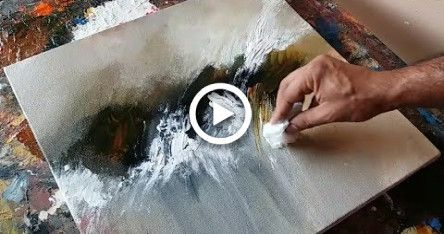 Abstract painting / Using plastic wrap, cloth and palette knife / Acrylics / Demonstration