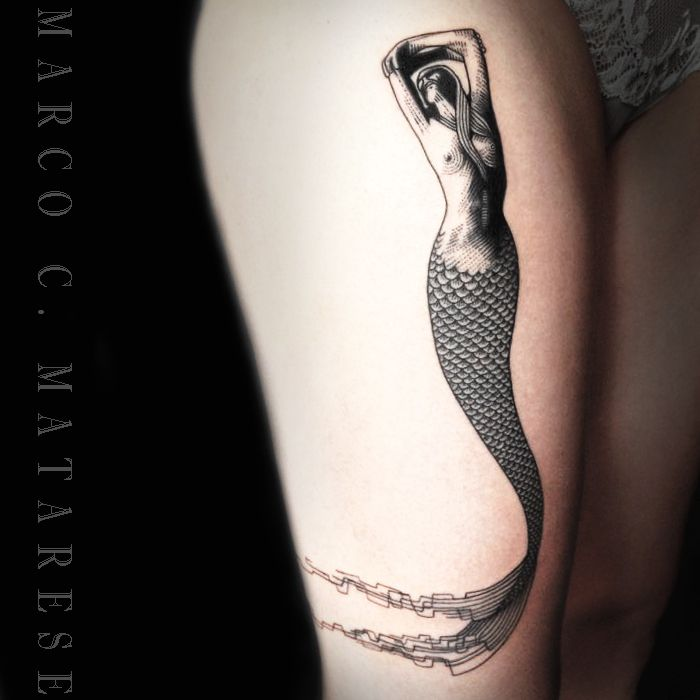 Mermaid, woman, placement, ideas | Tattoo - lines, engraving, etching. | Tattooist: Marco C. Matarese, Milan. #marcocmatarese #matarese #incisione #etching #engraving #drawing #penandink #lines #steampunk #blackwork #milano #milan #sculptoroflines #tatuage #ink #tattoo #tattooist #dotwork #nero #tatuatore #linework #blackart #acquaforte #incisione
