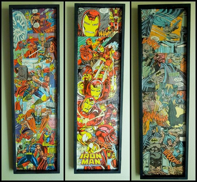 Awesome comic book wall decor! Thor, Iron man and Batman - diy - frame any comic pages! Easy to switch out