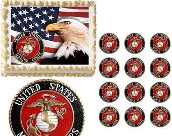 Marine Corps Edible Cake Topper Image, Military Marine Cake, Marine Cupcakes, US Marines Party, US Marines Emblem Edible, Marine Party