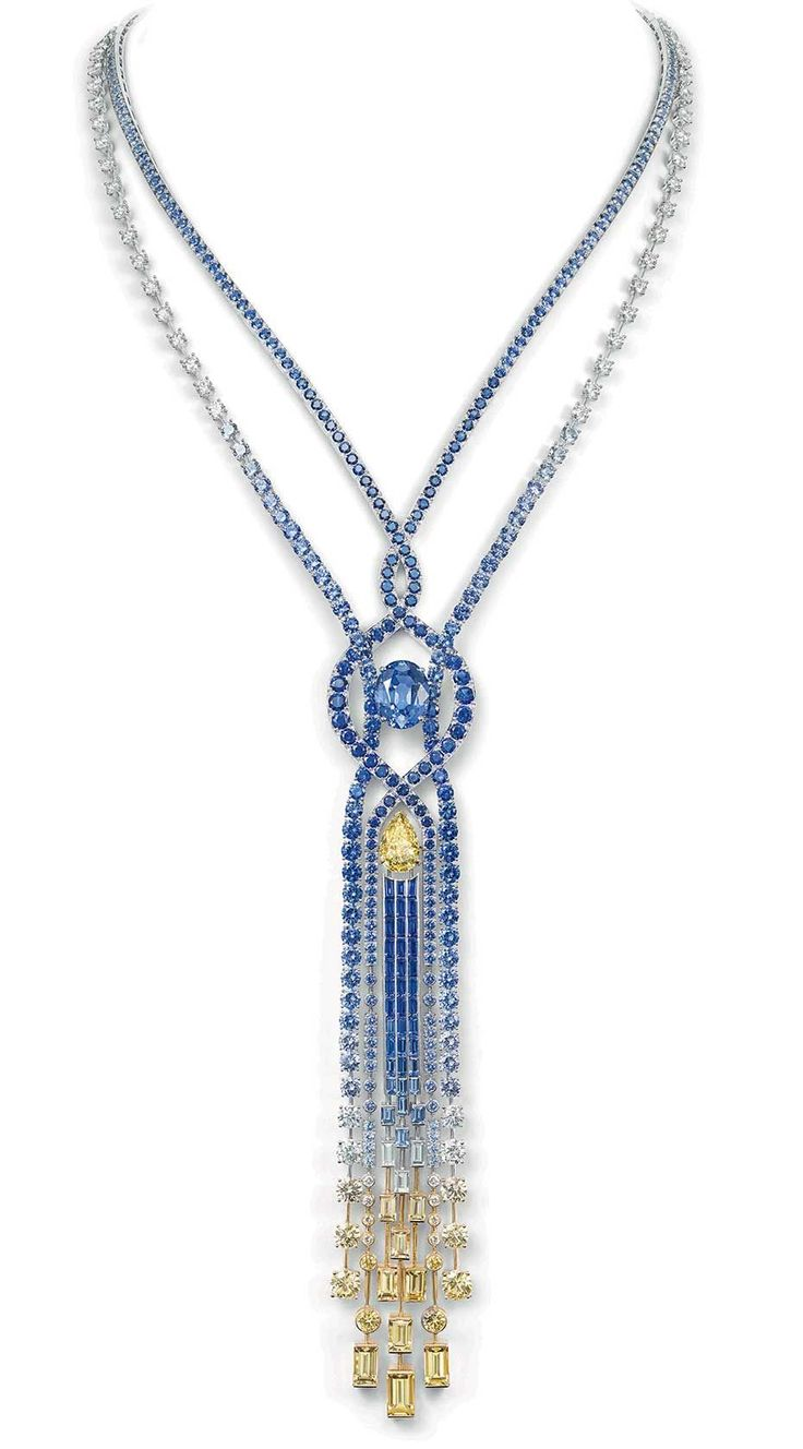 Chaumet Lumieres d'Eau high jewellery necklace in white and yellow gold set with an oval-cut blue sapphire from Ceylon of 10.23ct, a pear-shaped VVS1 Fancy Yellow diamond of 3.77ct, blue and yellow sapphires, and diamonds.