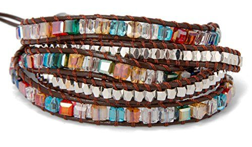 5 Wrap Bracelet in Colorful Crystal Glass Square Faceted and Brass Silver Toned Beads | SPUNKYsoul Collection
