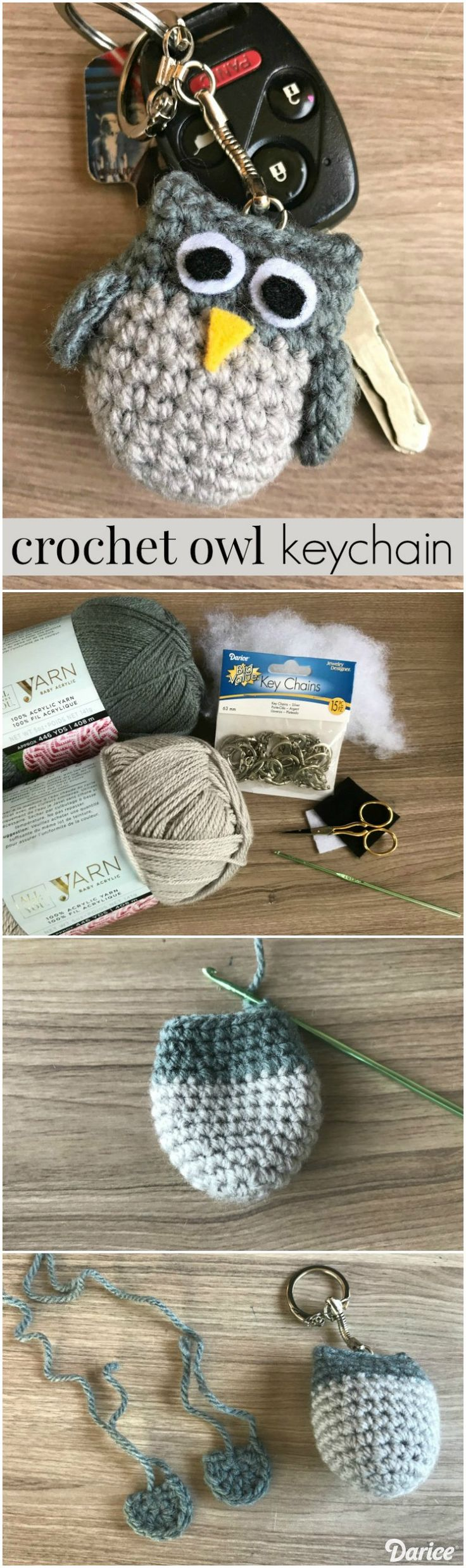 Get the free pattern for this adorable crochet owl keychain in today's blog post. Customize your owl with your favorite yarn colors!